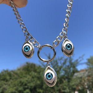 Evil Devil Monster Eyes Blue Eyeballs Necklace